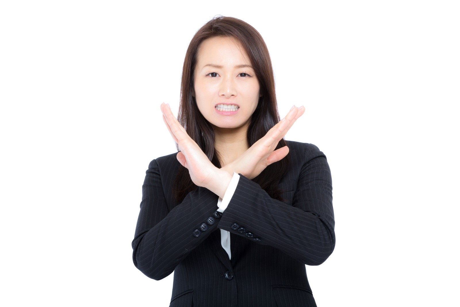 バツをする女性の画像